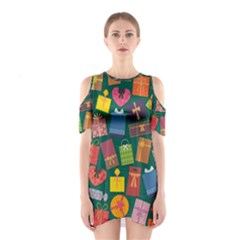 Presents Gifts Background Colorful Shoulder Cutout One Piece