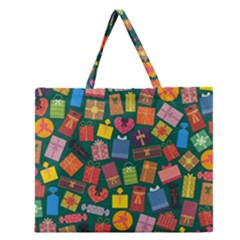 Presents Gifts Background Colorful Zipper Large Tote Bag