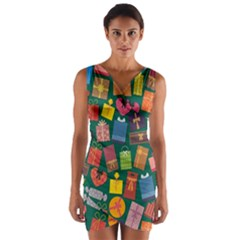 Presents Gifts Background Colorful Wrap Front Bodycon Dress