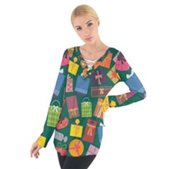 Presents Gifts Background Colorful Women s Tie Up Tee