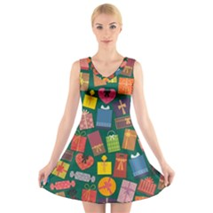 Presents Gifts Background Colorful V-Neck Sleeveless Skater Dress