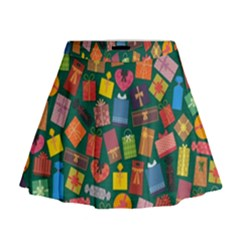 Presents Gifts Background Colorful Mini Flare Skirt