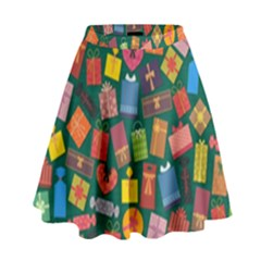 Presents Gifts Background Colorful High Waist Skirt