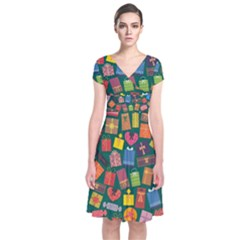 Presents Gifts Background Colorful Short Sleeve Front Wrap Dress