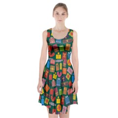 Presents Gifts Background Colorful Racerback Midi Dress