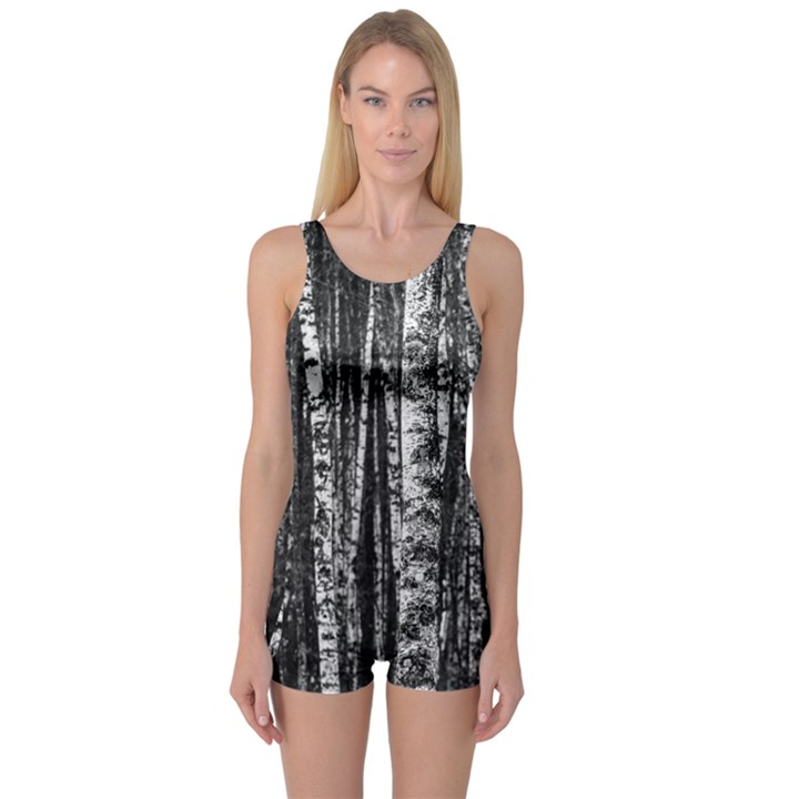 Birch Forest Trees Wood Natural One Piece Boyleg Swimsuit