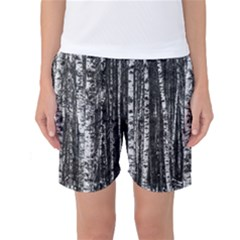 Birch Forest Trees Wood Natural Women s Basketball Shorts