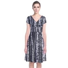 Birch Forest Trees Wood Natural Short Sleeve Front Wrap Dress
