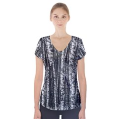 Birch Forest Trees Wood Natural Short Sleeve Front Detail Top
