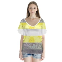 Nonbinary flag Flutter Sleeve Top