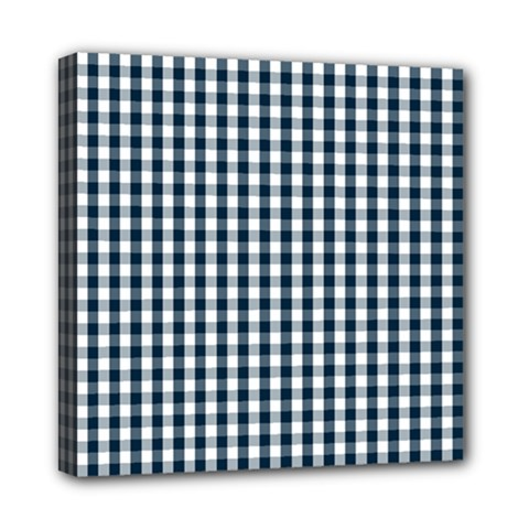 Silent Night Blue Large Gingham Check Mini Canvas 8  x 8