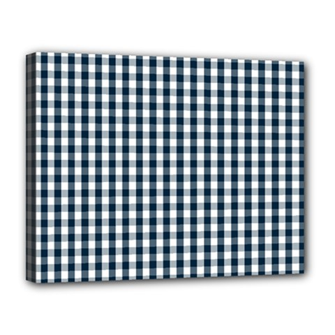 Silent Night Blue Large Gingham Check Canvas 14  x 11