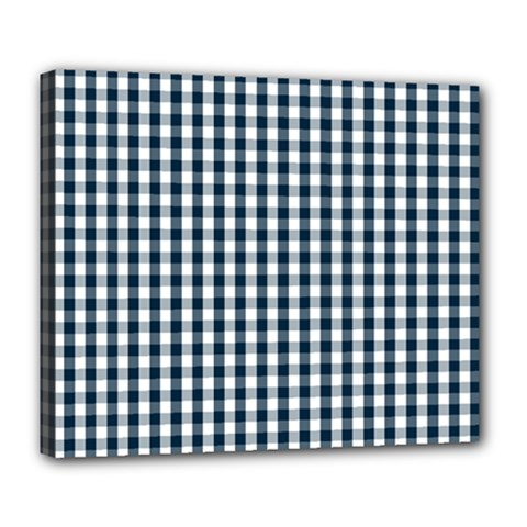 Silent Night Blue Large Gingham Check Deluxe Canvas 24  x 20