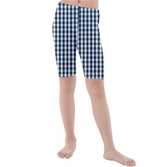 Silent Night Blue Large Gingham Check Kids  Mid Length Swim Shorts