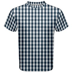 Silent Night Blue Large Gingham Check Men s Cotton Tee