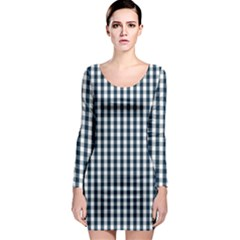 Silent Night Blue Large Gingham Check Long Sleeve Bodycon Dress