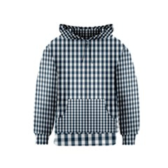Silent Night Blue Large Gingham Check Kids  Zipper Hoodie