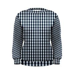Silent Night Blue Large Gingham Check Women s Sweatshirt