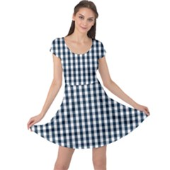 Silent Night Blue Large Gingham Check Cap Sleeve Dresses