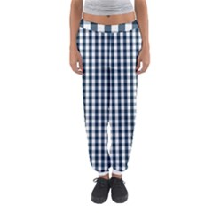 Silent Night Blue Large Gingham Check Women s Jogger Sweatpants