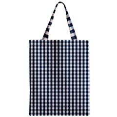 Silent Night Blue Large Gingham Check Zipper Classic Tote Bag