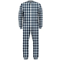 Silent Night Blue Large Gingham Check OnePiece Jumpsuit (Men)