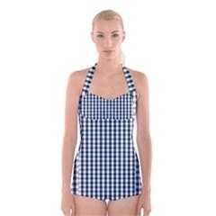 Silent Night Blue Large Gingham Check Boyleg Halter Swimsuit