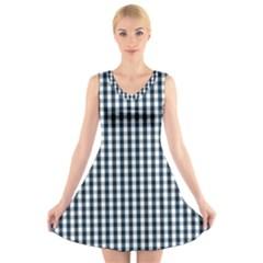 Silent Night Blue Large Gingham Check V-Neck Sleeveless Skater Dress