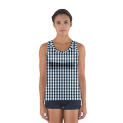 Silent Night Blue Large Gingham Check Women s Sport Tank Top