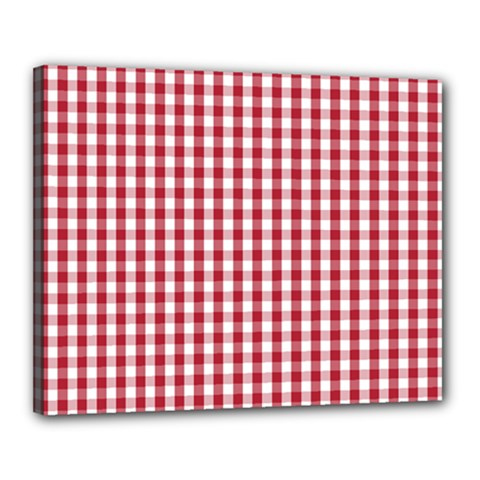 Usa Flag Red Blood Large Gingham Check Canvas 20  x 16