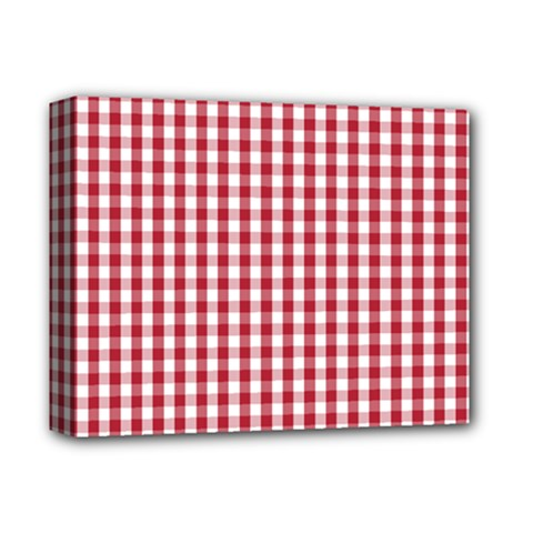 Usa Flag Red Blood Large Gingham Check Deluxe Canvas 14  x 11