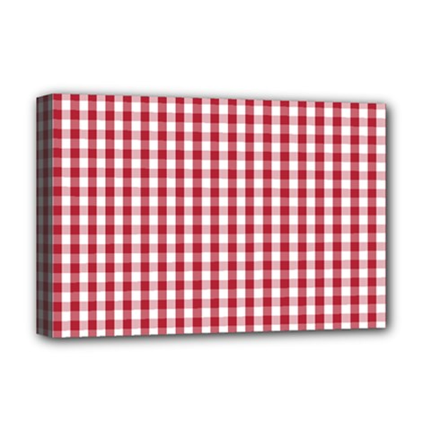 Usa Flag Red Blood Large Gingham Check Deluxe Canvas 18  x 12