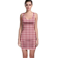 Usa Flag Red Blood Large Gingham Check Sleeveless Bodycon Dress