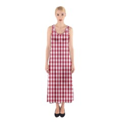 Usa Flag Red Blood Large Gingham Check Sleeveless Maxi Dress