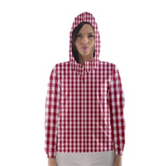 Usa Flag Red Blood Large Gingham Check Hooded Wind Breaker (women)