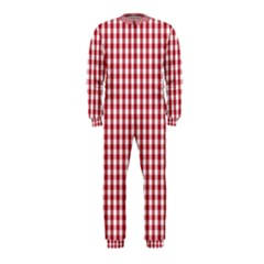 Usa Flag Red Blood Large Gingham Check OnePiece Jumpsuit (Kids)