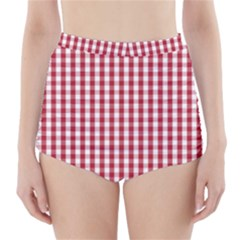 Usa Flag Red Blood Large Gingham Check High-Waisted Bikini Bottoms