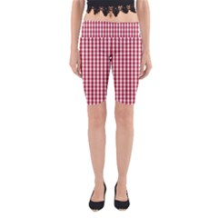 Usa Flag Red Blood Large Gingham Check Yoga Cropped Leggings