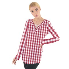 Usa Flag Red Blood Large Gingham Check Women s Tie Up Tee