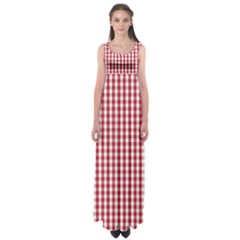Usa Flag Red Blood Large Gingham Check Empire Waist Maxi Dress