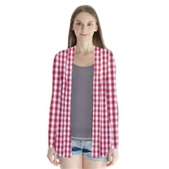 Usa Flag Red Blood Large Gingham Check Drape Collar Cardigan