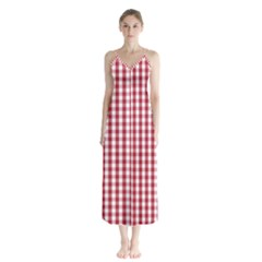 Usa Flag Red Blood Large Gingham Check Button Up Chiffon Maxi Dress
