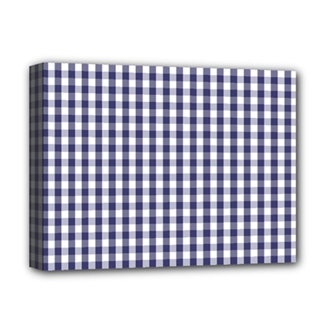 USA Flag Blue Large Gingham Check Plaid  Deluxe Canvas 16  x 12
