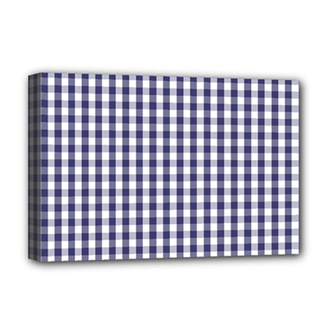 USA Flag Blue Large Gingham Check Plaid  Deluxe Canvas 18  x 12