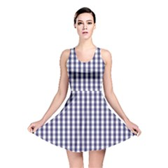 USA Flag Blue Large Gingham Check Plaid  Reversible Skater Dress