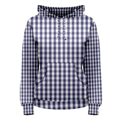 USA Flag Blue Large Gingham Check Plaid  Women s Pullover Hoodie