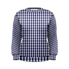 USA Flag Blue Large Gingham Check Plaid  Women s Sweatshirt