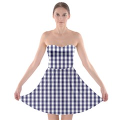 USA Flag Blue Large Gingham Check Plaid  Strapless Bra Top Dress