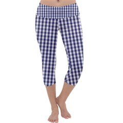 USA Flag Blue Large Gingham Check Plaid  Capri Yoga Leggings
