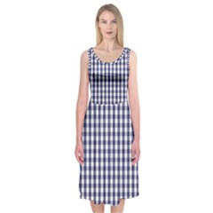 USA Flag Blue Large Gingham Check Plaid  Midi Sleeveless Dress